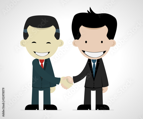business handshake: caucasian and japanese