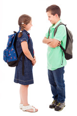 School kids over white background