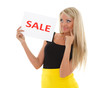 Young  woman with sale sign.