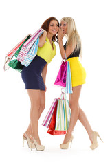 Young women with shopping bags.