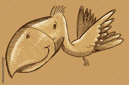 Tropical Bird Sketch Doodle Vector Art