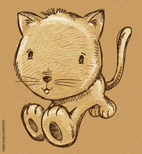 Kitten Cat Sketch Doodle Illustration Vector Art
