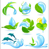 Water and Green  Nature Symbols Set