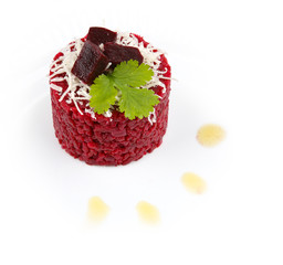 beetroot risotto isolated on white