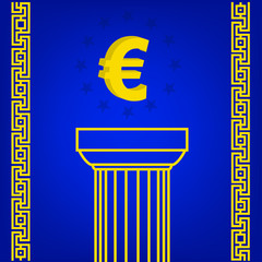 greece column with popular currency sign Euro