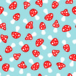 Seamless Pattern Mushrooms Red/Blue