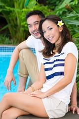 Asian couple outdoor in the garden