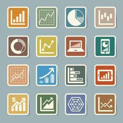 Business Graph sticker icon set