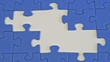 building a jigsaw of blue pieces - montage
