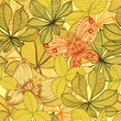 Seamless vintage background with autumn leaves and butterflies