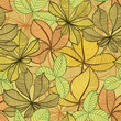 Seamless hand drawn vintage background with autumn leaves