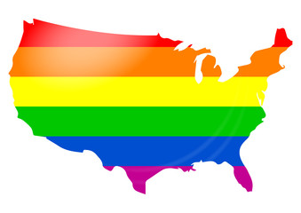 Gay flag USA map