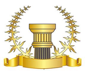 greece column and gold laurel wreathgold laurel wreath