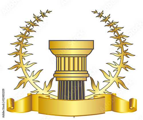 greece column and gold laurel wreathgold laurel wreath