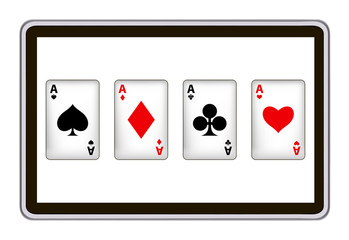 realistic  vector tablet pc computer with playing cards