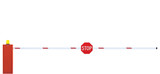 Gated Road Barrier Closeup, Roadway Gate Bar Stop Sign Isolated