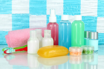 Hotel cosmetics kit on shelf in bathroom