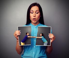 woman looking at disrupt photo