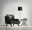 Luxury contemporary black leather armchair with stool and lamp