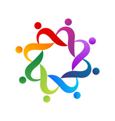 Teamwork helping people logo