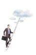Full length portrait of a businessman climbing a ladder towards