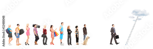 Full length portraits of  people waiting in a line and a busines