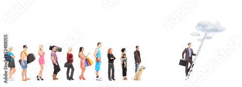 Full length portraits of people waiting in a line and a business