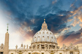 St Peter Square - Vatican City. Wonderful view of Dome - Cupola