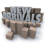 New Arrivals Cardboard Boxes Items Merchandise Products poster