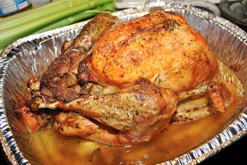Perfectly Cooked Stuffed Turkey in a Foil Pan