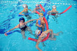 canvas print picture - happy children group  at swimming pool