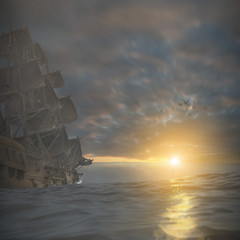 Piratenschiff auf See 3D
