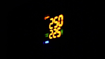 Digital timer countdown on UPS device, normal voltage.