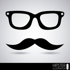 glasses and mustache