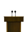 Podium and microphones
