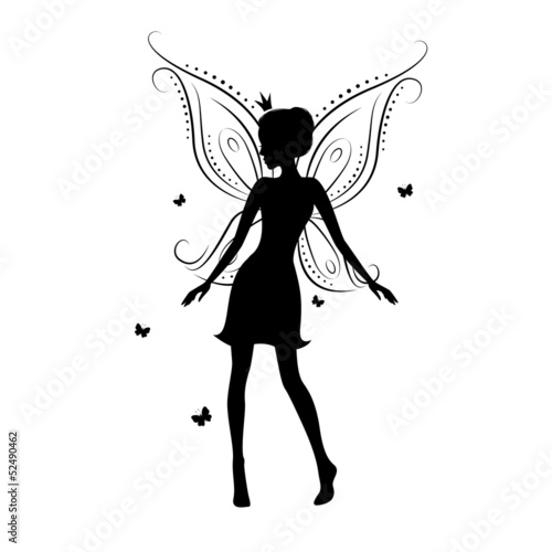 Beautiful fairy silhouette on a white background.