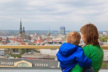 family looking at Riga