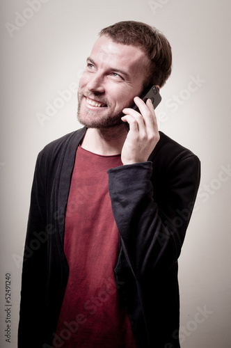 stylish hipster man on the phone
