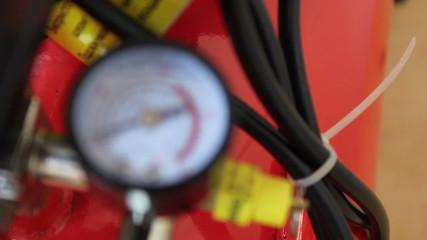 Air compressor industrial pressure gauge, rack focus