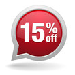 15 percent off red speech bubble