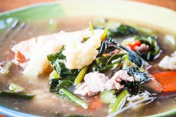 Close up fried rice gravy pork noodles