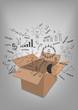 Open box business strategy plan concept idea vecor