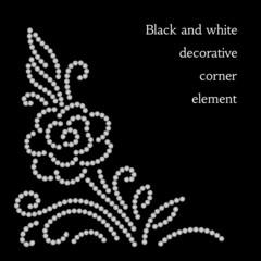 Abstract flower, diamond pattern on black