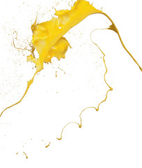 splashes of yellow paint isolated on white background