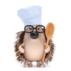 Cute hedgehog cooks dinner