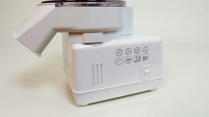 Vintage electric slicer close up. Food processor.