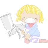 illustration of a girl with spray gun