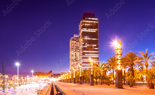 night view of skyscrapers at Barcelona