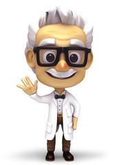 Smiling professor say hello
