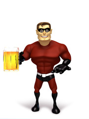 Superhero with glass beer
